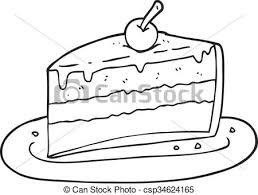 Black And White Cartoon Slice Cake Vector