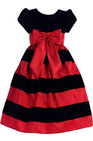 red u0026 black velvet girls flocked taffeta christmas dress w red