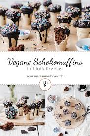 vegane schokomuffins im waffelbecher