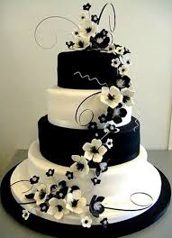 Elegant Black And White Wedding Cakes Photo