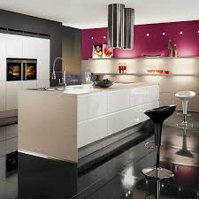 View In Gallery Kitchen Decor With Black Walls White Island And Pink Cabinets