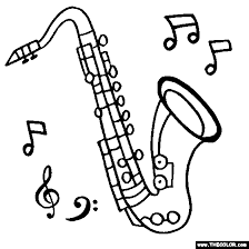 Tenor Saxophone Coloring Page Woodwind Instrument