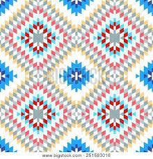 Seamless Pattern Turkish Carpet Pink Blue White Red Gray Colorful Patchwork Mosaic Oriental Kilim R