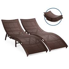 Best Choice Products Set Of 2 Patio All-Weather Folding Wicker Chaise  Lounge Chairs W/ Handles, No Assembly Required