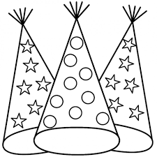 New Years Party Hat Coloring Sheet Throughout Page