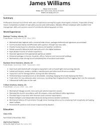Truck Driver Resume Sample Examples For With