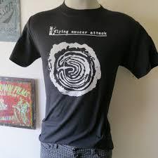 flying saucer attack t shirt screen print short sleeve black