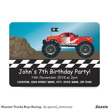 Monster Trucks Boys Racing Personalized Birthday Card   Monster ... Birthday Monster Truck Invitations Free Templates Grave Printable Party Fresh 9 Best Trucks Blaze And The Machines Trend Jam 3d Birthdayexpress Com 3 Year Old Cstruction With Printables Vip Guest Pass Printable Insert Instant Outstanding Images Inspirational E Three Awesome