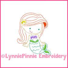 Mermaid Princess Cutie Colorwork Sketch Embroidery Design 4x4 5x7