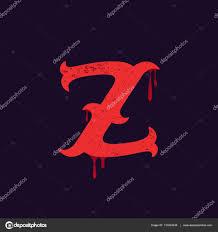 Z Letter Logo Vintage Slab Serif Type With Blood Splashes Stock