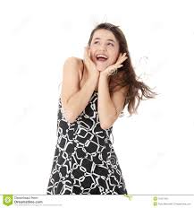 beautiful teen girl in dress laughing royalty free stock image