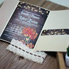 Rustic Cheap Wedding Invitations Packed With Classic Fall Maple Leave String