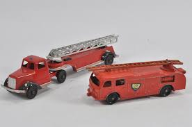 Duo Of Fire Engines Including Lone Star And Tootsietoy. Good Plus To ... Vintage Tootsie Toy Fire Trucks Country Tazures Toys Pickup Trucks Lot 9 Vtg 1970s Diecast Plastic Jeep Uhaul Panel Otsietoy Red Hook And Ladder Truck Facing Front Right Otsietoy Aerial With Extension 1940s Tootsietoy 236 Lofty Antique Water Tower 1920s 4 Color Version Hubley Ladders From The 1930s For Sale Pending Prewar Tootsietoys Article By Clint Seeley