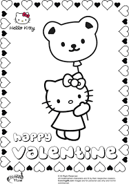 Hello Kitty With Valentine Balloon Coloring Pages Printable