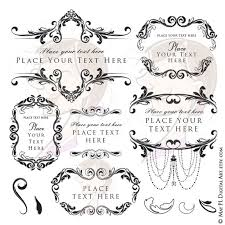 Flourish Frame Clipart Digital Floral VECTOR Wedding Bridal Classic Vintage Antique Black Chandelier Design Instant