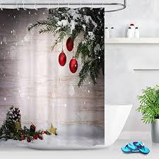 lb weihnachten duschvorhang 180x180cm grüner weihnachtsbaum rote kugel hölzerne planke bad vorhänge polyester lang wasserdicht anti schimmel