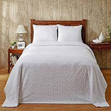 Oversized King Bedspread Chenille White Lightweight Cotton Tufted