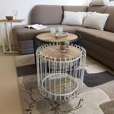 couchtisch rund ø 50 cm wohnzimmer tisch beistelltisch york metall gestell schwarz matt o reinweiss
