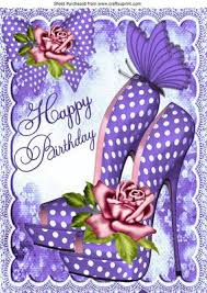 Pretty purple polka dot shoes with roses for birthday A4 on Craftsuprint Add To Basket