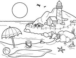 Landscapes Beach With Lighthouse Coloring Pages PagesFull Size Image