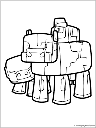 Stampy Coloring Pages Minecraft Pig Cow And Duck Page