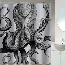 Octopus Shower Curtains from CeciliaCurtains on Etsy