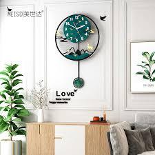 grün hirsch swingable große wanduhr moderne design