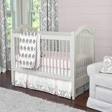 Pink and Gray Elephants 3 Piece Crib Bedding Set