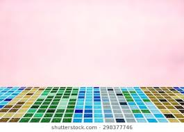 Colored Mosaic Ties Floor Terrace In Light Pink Color Tone With Blurred Abstract