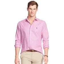 polo ralph lauren estate gingham twill shirt in pink for men lyst