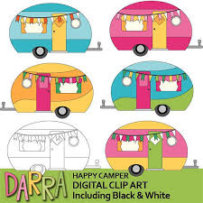 Camping Clipart Cute Caravan RV Clip Art Happy Camper