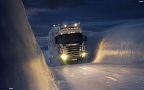 Truck On Winter Road HD Wallpaper
