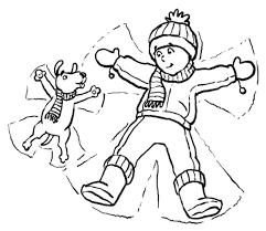Dog And Kid In Snow Winter Coloring Pages