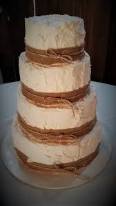 Rustic Wedding Cake With Burlap Ribbon And Twine