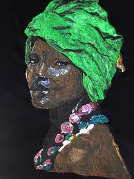 African Queen Afro Green Hat Painting 3d Afrocentric Wall Art