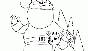 Santa And Reindeer Coloring Page Pages Printable Home