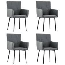 vidaxl esszimmerstühle mit armlehnen 4 stk dunkelgrau stoff gitoparts