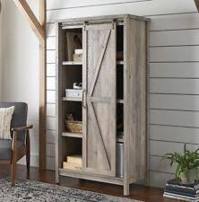Rustic Storage Cabinet Kitchen Bathroom Farmhouse Sliding Barn Style Door Decor