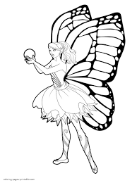 Barbie Mariposa And The Fairy Princess Coloring Pages For Girls In Printable