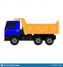 100 Blue Dump Truck Icon With Yellow Body On White Background Stock