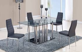 Ortanique Round Glass Dining Room Set by D368 Series Black Glass Stainless Steel Dining Table Kitchen