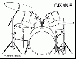 Impressive Drum Set Coloring Page With Music Pages