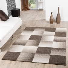 moderner teppich wohnzimmer velours teppiche kariert beige