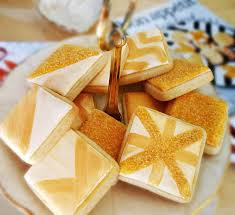 Decorated Shortbread Cookies by My Cookie Clinic Glittery Square Cookies Luster Dust