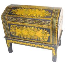 Antique Ebonized Hand Painted Mexican Wedding Trunk For Sale