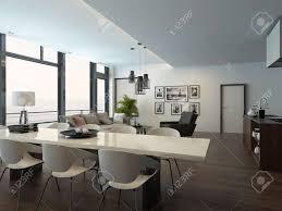 luxus modernen wohnung wohnzimmer interieur mit parkettboden weiße esstisch sitzecke und eine küche mit kochinsel 3d rendering