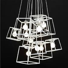 Modern Cube Box Frame Pendant Lights Geometric Lamps Lustres De Sala Kitchen DIY Light Hanging