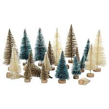 TRIEtree Mini Sisal Snow Frost Trees Bottle Brush Christmas Tree Pine With Wood
