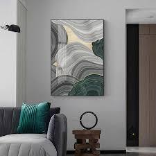 abstrakte grau grün gold folie jährliche ring leinwand kunst