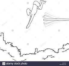Black Line Art Illustration Of A Man Diving Off Board Into Big Pile Money EPS8 No Transparencies